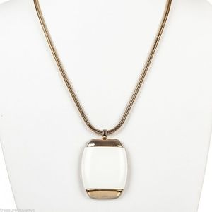 Lanvin Gold and White Pendant Necklace